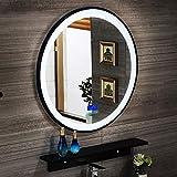 ZCZZ Specchio da bagno rotondo con luce LED illuminata telaio in ferro e sensore touch a parete specchio da trucco, dimensioni: 60/70 cm