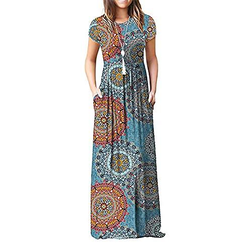 Vestido largo de verano para mujer, estilo casual, cuello redondo, estampado floral, manga corta, columpio de playa, ligero, con bolsillos, playa, cintura alta, sol, camiseta, vestido de algodón