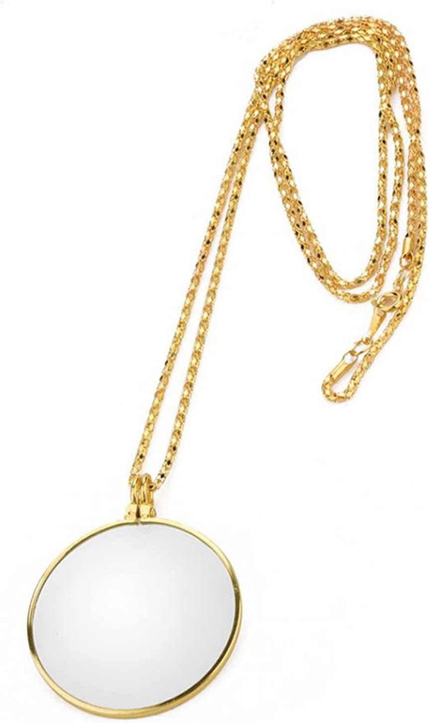 5X Necklace Magnifying Glass Golden Magnifier Vintage P San Francisco Philadelphia Mall Mall
