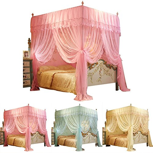 wisedwell Mückennetz für Doppelbett Mückennetz Bett Baldachin Bett Fliegennetz Kinderbett Rechteckiger Netzvorhang Betthimmel Vorhang Insektensch Bodenlanger Vorhang
