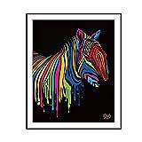 FancysweetyFR Zèbre coloré sur Fond Noir Photo Art coloré rétro Impressions sur Toile de Peinture sans Cadre décor...