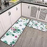 2-teiliges Küchenteppich-Set, floraler Garten, weiß, saugfähig, rutschfest, weich, Fußmatte,...