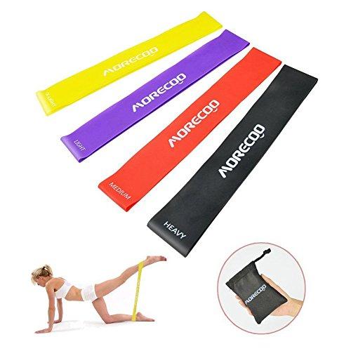 Bandas de Resistencia, MORECOO Paquete de 4 bandas de ejercicio perfecta para realizar fitness, pilates, ejercicio, rehabilitación y fisioterapia (4 Bandas)