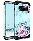 Casetego Compatible Galaxy S10 Case,Floral Three Layer Heavy Duty Hybrid Sturdy Armor Shockproof Full Body Protective Cover Case for Samsung Galaxy S10,Blue Flower