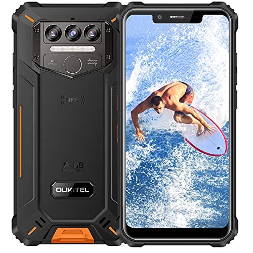 Rugged Smartphone OUKITEL WP9, 6GB RAM+128GB ROM 8000mAh Batteria Android 10 Dual SIM 4G Impermeabile IP68 Antiurto Cellulari Offerte, 5.86 Pollici Tre Fotocamere con NFC Telefono Resistente Arancio