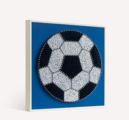 Voetbal diy string zijde schilderij handgemaakte materiaal pakket nagels kronkelende foto ouder-kind handgemaakte decoratieve schilderij 32 * 32cm