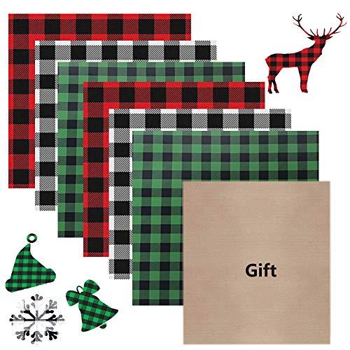6 Sheets Christmas Buffalo Plaid HTV Heat Transfer Iron on Vinyl for T-Shirts Fabric DIY Craft 12 x 10 inch with 1 Sheet PTFE Teflon Sheet