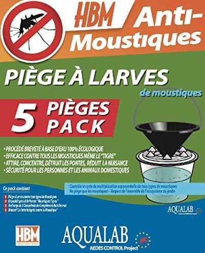 HBM Pack 5 Pièges à Larves AquaLab Anti-Moustiques, Blanc, 210x220x220 cm