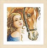 Lanarte - Kit de punto de cruz contado: mujer y caballo, N\A, 30 x 30 cm
