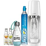 SodaStream Fizzi Sparkling Water Machine Bundle (White), with CO2, 1/2 Liter BPA-Free My Only Bottle, and 0 Calorie Fruit Drops Flavors