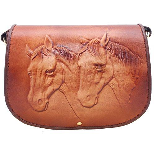 Koson Lederen Paard Bruin Handgemaakte Satchel Schouder Handtas Messenger Bag