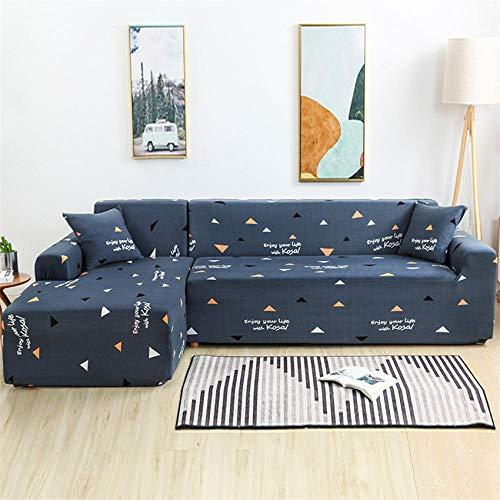 CURTAINSCSR Funda de Sofá Elástica Triángulo Azul Sofá Cubierta Estampada Poliéster y Elastano Funda de Sofá para Sala de Estar Funda Antideslizante para Muebles, 1 Plazas: 90-140 cm