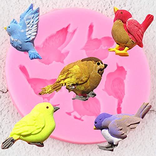Molde de silicona para pájaros de paloma, moldes para hornear de Chocolate Diy, decoración para cupcakes, herramientas de decoración de pasteles con fondant, moldes de arcilla polimérica para dulces