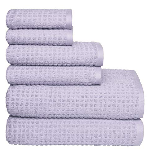 GLAMBURG 100% OEKOTEX Organic Cotton 6 -Piece Towel Set, GOTS Certified, Contains 2 Oversized Bath Towels 30x54, 2 Hand Towel 16x28, 2 Wash Cloth 12x12, Absorbent and Eco-Friendly - Dark Purple