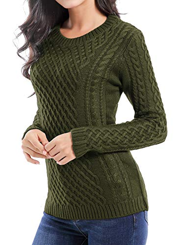 v28 Women Crew Neck Knit Stretchable Elasticity Long Sleeve Sweater Jumper Pullover (S, ArmyGreen)