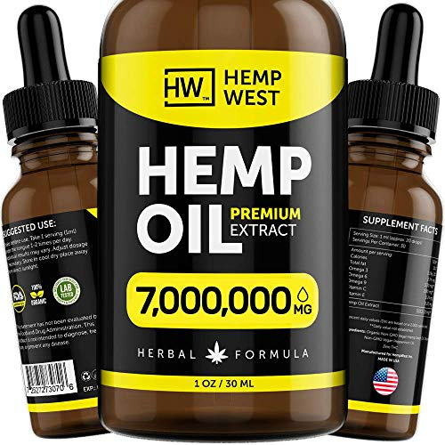 Hemp Oil 1,750,000 MG for Pain, Anxiety Relief - Sleep Support - Organic Extra Strong Formula - Vegan-Friendly - Helps for Skin, Hair - Pure Extract