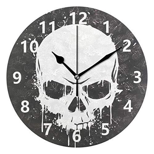 Rootti - Reloj de pared redondo con diseño de calavera, silencioso, no hace tictac, 20 cm, decoración para el hogar, dormitorio, sala de estar, baño, cocina, oficina, salón