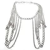 SODIAL(R) Collar arnes cadena del cuerpo del hombro de aleacion de mujer Plata Moda