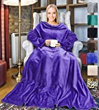 Tirrinia Wearable Fleece Blanket with Sleeves for Adult Women Men, Super Soft Comfy Plush TV Blanket Throw Wrap Cover for Lounge Couch Reading Watching TV 73' x 51' Purple
