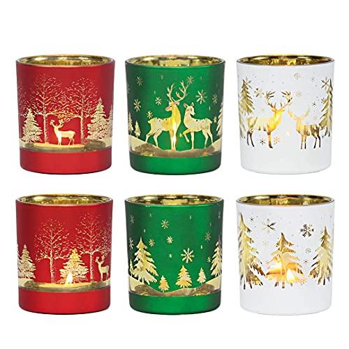 MJ PREMIER Portavelas de Navidad, 6 unidades, 7 x 7 x 8 cm, decoración...