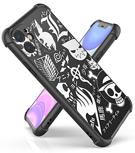Anime Pattern Design Case for iPhone 11 6.1',Shockproof Series Hard PC Back and TPU Bumper Protective Cover Cases for Men and Women (18-Naruto-Attack-on-Titan-Fullmetal-Alchemist)
