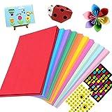 Cartoncini Colorati,DIY Cartoncini di Carta 10 Colori 100 Fogli 180gsm,Cartoncino colorato a4,Fogli Assortiti Bricolage per Fotografici Fare Origami Disegno Abbozzare + 4 Adesivi…