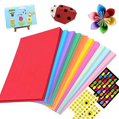 Cartoncini Colorati,DIY Cartoncini di Carta 10 Colori 100 Fogli 180gsm,Cartoncino colorato a4,Fogli Assortiti Bricolage per Fotografici Fare Origami Disegno Abbozzare + 4 Adesivi