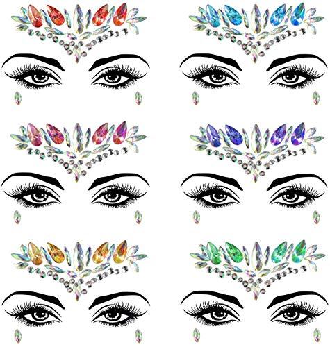 Gshy Autocollants Cristal Visage Yeux Corps 2PCS Bijoux Gemmes Paillettes Strass DIY Décorations de Maquillages Autocollants Temporaires pour Fête Style Aléatoire