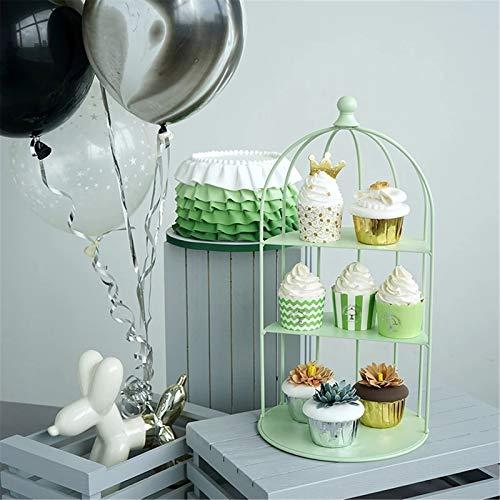 Lpinvin Puesto de Pasteles Cupcake Stand Party Decoration Herramienta Jaula de pájaro Boda Banker Pantalla Pantalla de Pastel Soporte de Pastel de Postre (Color : Verde, Size : 21x40cm)