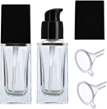 2 Pieces Upscale Empty Square Glass Pump Lotion Bottle Refillable Clear Glass Bottles Lotion Dispenser with Black Cap for Creams Lotions Serums Come with 2 Pieces Funnels (30ml)