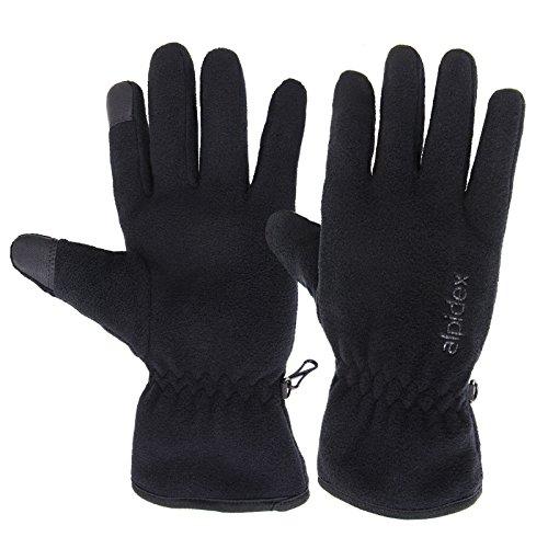 ALPIDEX Fleece Handschuhe Woolf 2.0 mit Thinsulate Fingerhandschuhe mit Thinsulatefüllung Fleecehandschuhe Unisex Gloves Touch-Funktion, Farbe:Black, Größe:XS-S