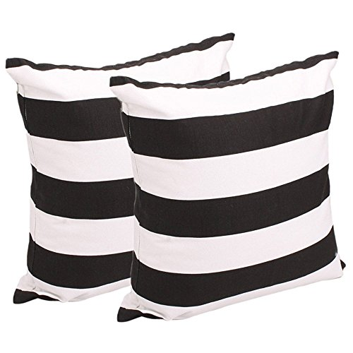 Leaveland White and Black Stripe Set of 2 18x18 Inch Cotton Linen Square Throw Pillow Case Decorative Durable Cushion Slipcover Home Decor Sofa Standard Size Accent Pillowcase