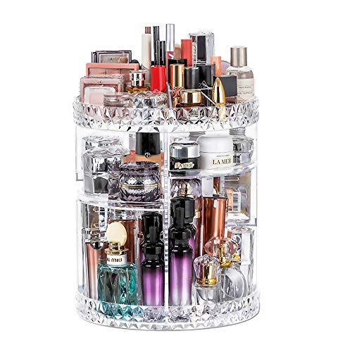 URMOMS 360 Degree Rotating Makeup Organizer, 7 Layers Adjustable Makeup Storage Organizer Box for Lipstick and Brushes, Large Capacity Acrylic Cosmetic Display Cases for Dresser and Bathroom