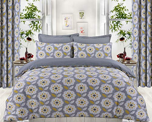 Divine Textiles Hotel Quality 100% Egyptian Cotton Reversible Duvet Cover Set (Daffodil, Super King)