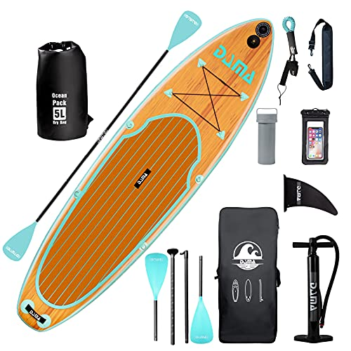 DAMA 10'6'x32'x6' Inflatable Stand Up Paddle Board, Yoga Board, Camera Seat, Floating Paddle, Hand Pump, Board Carrier,...