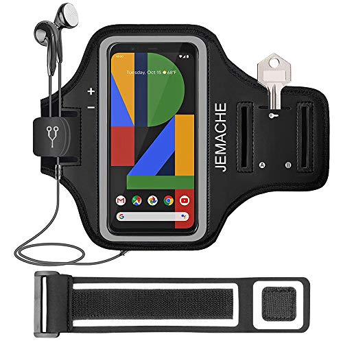 Pixel 4XL, 3XL, 2XL Armband, JEMACHE Gym Running Exercises Workouts Arm Band Case for Google Pixel 4 XL, 3a XL, 3 XL, 2 XL with Key Holder (Black)