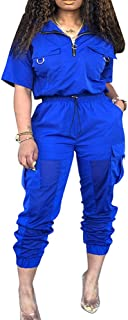 Womens Lightweight Windbreaker Tracksuit 2 Pieces Outfit Drawstring Zipper Jacket Long Pants Jogger Set