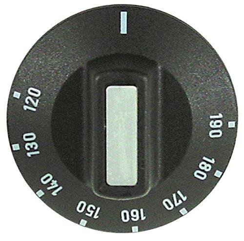 Knebel für Thermostat ø 50mm Symbol 120-190°C für Achse ø 6x4,6mm mit Abflachung links schwarz Drehwinkel 270°