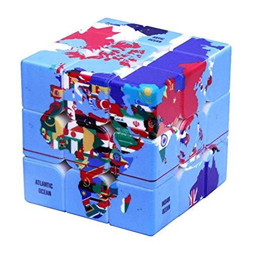 PPu Speed Cube para Estudiantes, Tercer Orden Rubiks Cubo Mapa del Mundo Juguetes educativos Herramientas de Aprendizaje Regalos Impresión UV Sin calcomanías,White