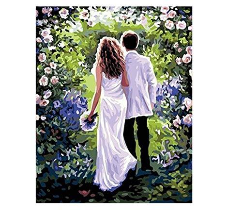 YuHanWei Digitale Malerei Bilder Malen Nach Zahlen Hochzeit Dekoration Wandbild 40 * 50 cm DIY Digitale Farbe Zeichnung Ölgemälde Auf Leinwand