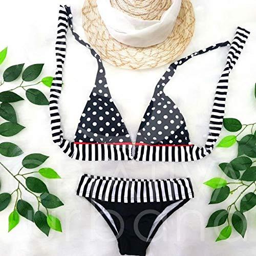 Biquíni Vintage Poá Preto e Branco Feminino Bolinhas Sunquini Bikinis Baratos e Estilosos Verão Moda Praia (Preto e Branco, gg)