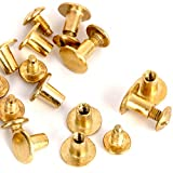 purse parts - Round Flat Head Chicago Screws Buttons for Leather Crafting, 1/4 Inches (6mm) Repair Screw Post Fastener, Metal Nail Rivet Studs, Gold, 30 Sets, Diameter 5/16 Inches (8mm)