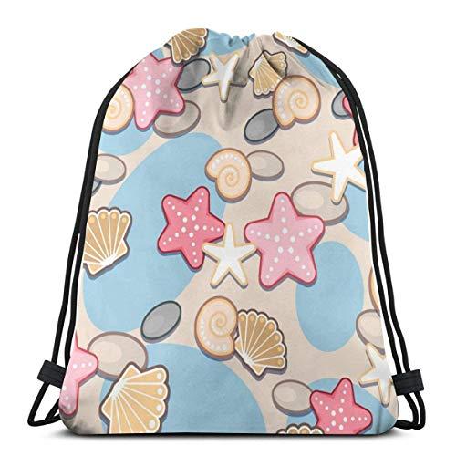 Bolsa de cuerda Bapa Sapa con estampado de concha y arena y concha de mar bolsa de playa de nailon resistente al agua para gimnasio, compras, deporte, yoga