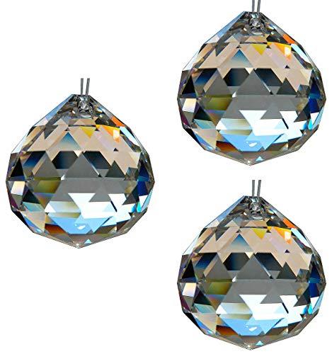 HAB & GUT -G701-40- Bola de cristal, juego de 3 piezas, talla triangular, Cristal de plomo, diámetro: 40