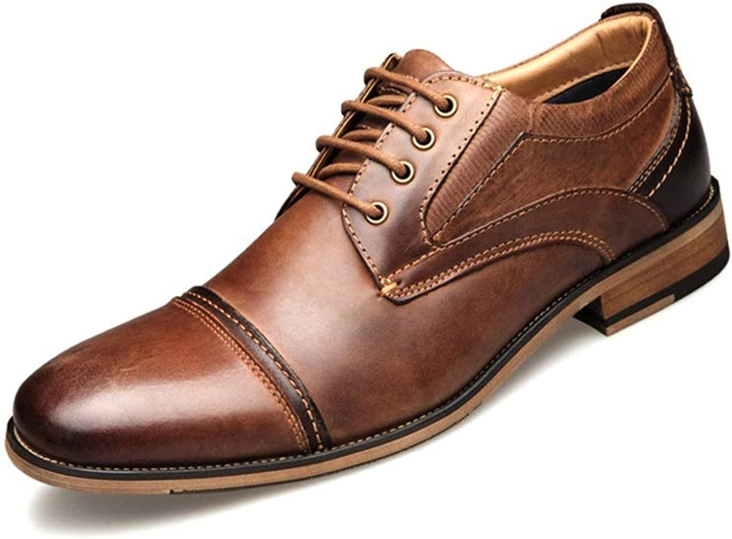 CATEDOT Oxford Men's shoes Business Dress shoes First layer Cowhide Lace up Euramerican Large Size Leather shoes (color   Brown, Size   6.5UK)