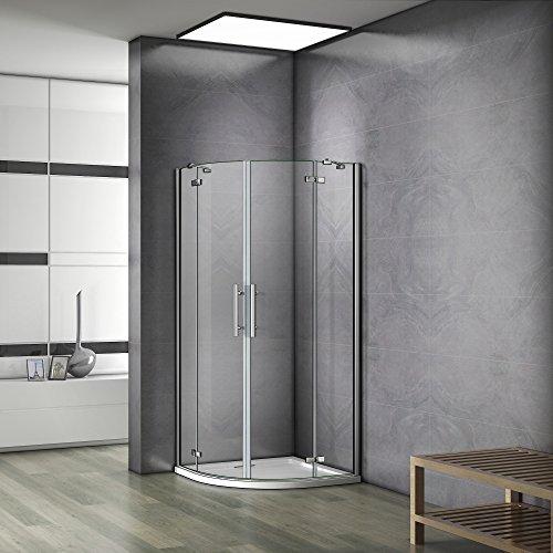 90x90x195cm cabine de douche à charnière accès d'angle 1/4rond avec paroi de douche et barre de fixation