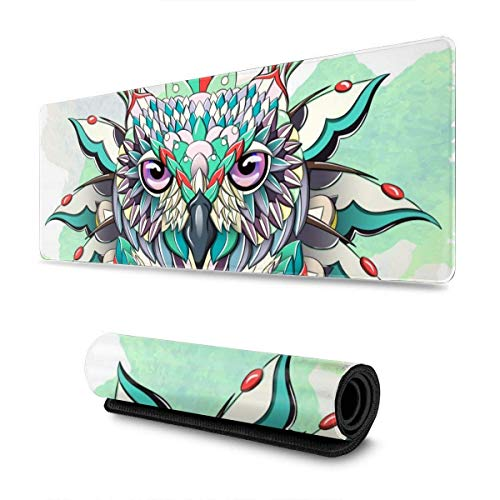 Owl Gaming Mouse Pad XL Extended Large Mouse Mat Desk Pad Stitched Edges Mousepad Long Non-Slip Rubber Base Mice Pad 31.5 X 11.8 Inch
