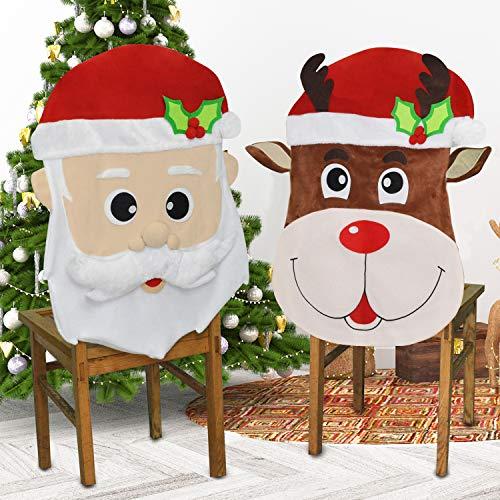 JOYIN Navidad Papá Noel y renos navideños, fundas de sillas de comedor para decoración de interiores, suministros para fiestas, restaurantes, festivales, decoración de fiestas