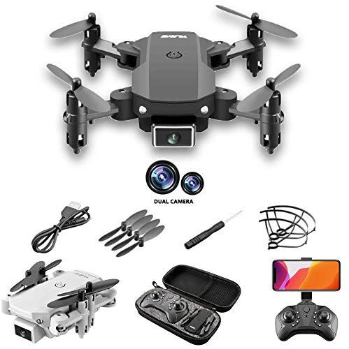 POPOY Mini Drohne mit Dual Kamera HD 720P S66 Faltbare Drohne FPV WLAN 120°Weitwinkel 2.4G RC Quadrocopter/Handy gesteuert Foto Drohne/KopflosModus/Höhehalten/Flugbahnflug/Notlandung (grau)