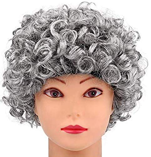 Little Old Lady Cosplay Curls Wig- Grandmother Grandma Wig, Wig Cap, for Madea Granny, Christmas Party, Mrs. Santa, Silver Curls; 31A